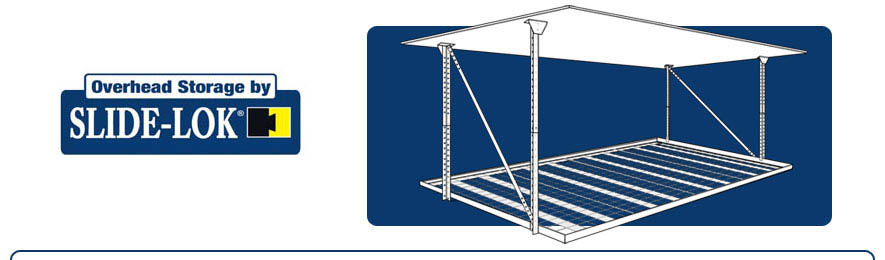 Garage overhead storage racks tampa st petersburg hillsborough slide lok overhead storage is made of strong and durable steel the height is adjustable and will fit any storage need modular in design slide loks solutioingenieria Gallery
